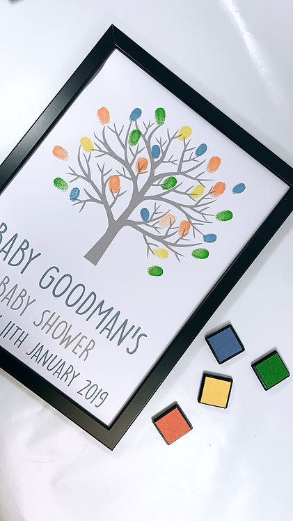 Finger Print Tree, Baby Shower , Christening Welcome Frame, A4, A3