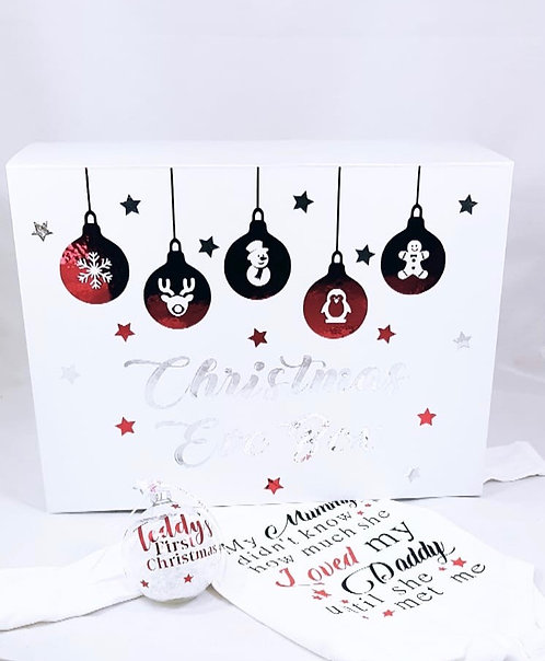 Baby's first Christmas Eve box personalised, riva gifts, Christmas Eve gift, red and white christmas decor