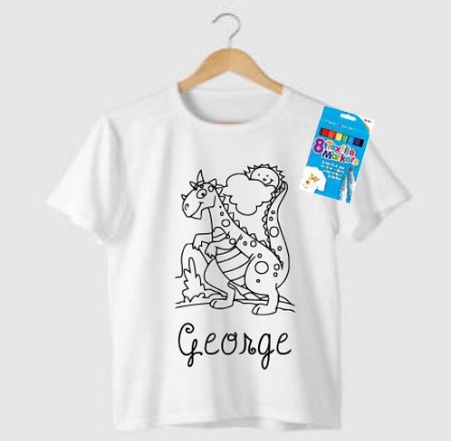 Kids Colour Your Own Personalised T-Shirt, Riva Gifts