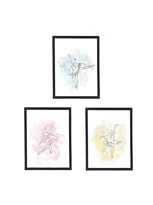 Pretty Ballerina Watercolour Print, 30x40cm 3 Pack