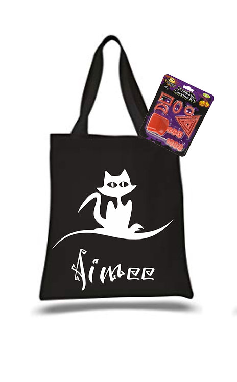 Personalised Bag and Pumpkin Carving Set, halloween set, riva gifts