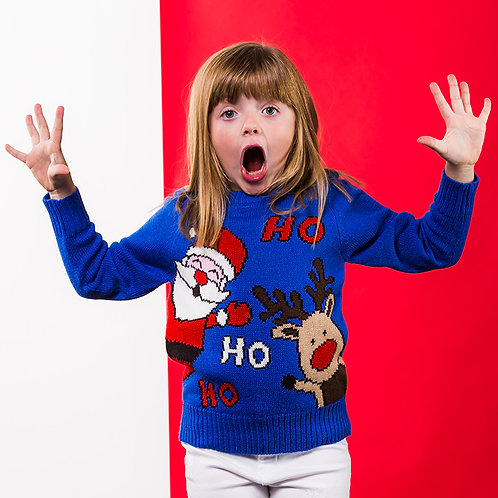 Kids Ho Ho Ho Christmas jumper, riva gifts