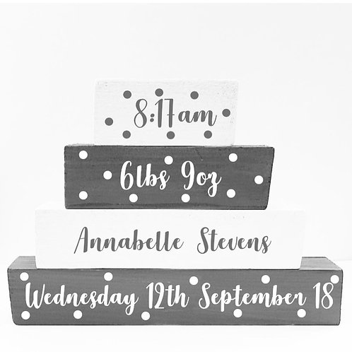 Wooden Stack, Baby Announcement Gift