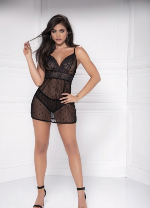 Too's Company - Black Babydoll with Matching G-String