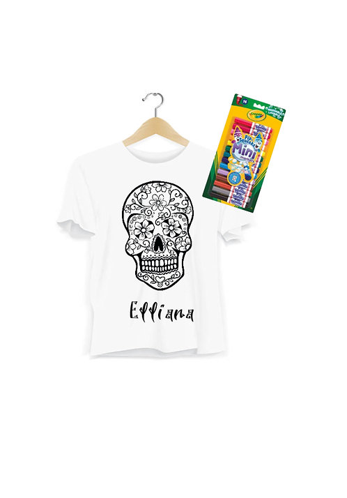 Halloween Inspired Colour Your Own Personalised T-Shirt, Day of the dead