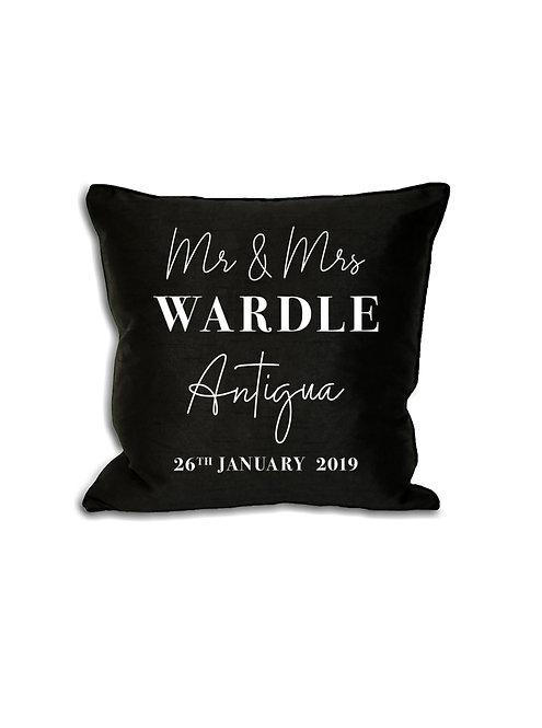 Mr & Mrs, Wedding Location, Cushion Cover