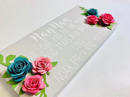 Personalised Wooden Sign and paper flowers, personalised