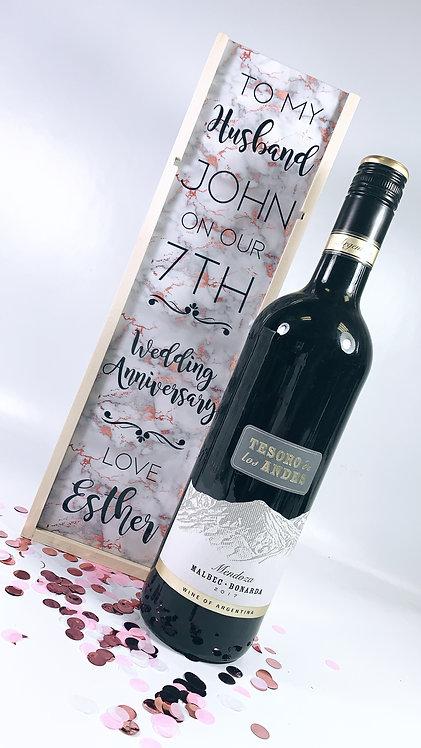 Printed Wooden Wine Box, Printed Personalised Gift