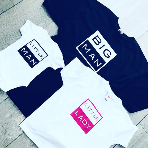 Family t-shirts, Personalised, round neck, baby vest, for the whole family,
