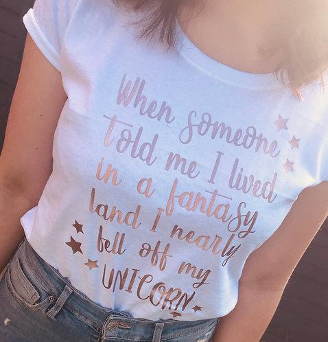 Personalised Ladies Adult, Unicorn, T shirt, Round Neck