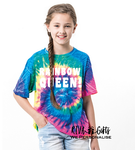 Tie-dye shirt, Kids Unisex, Personalised (TD02B ) rainbow queen, gifts for kids who love festivals, riva gifts