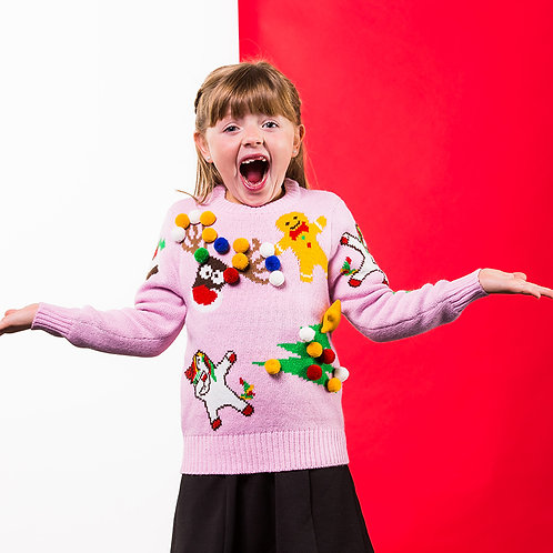 Kids mix and match Christmas jumper, PINK KIDS CHRISTMAS JUMPER, RIVA GIFTS