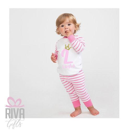 Kids Pyjamas, Stripe, Personalised, Birthday