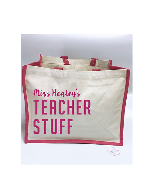 Teacher Stuff, Large Jute Bag, Personalised wm442