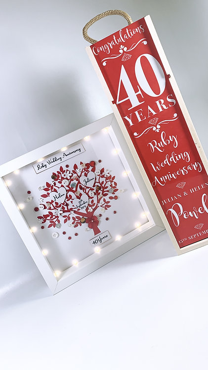 Family Tree Frame and Wine Box Gift , Personalised 25cm With LED Lights