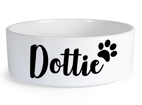 personalised dog bowls, white ceramic bowl with name for pet, pet gift Weston super mare