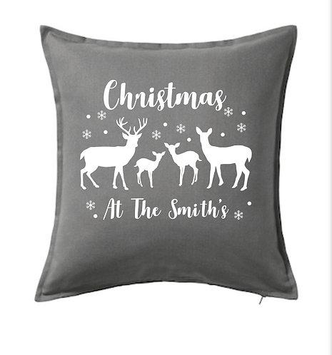 Christmas Family, Deer, Cushion Cover