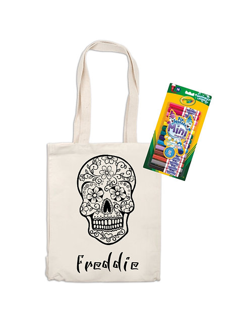 Day of The Dead, Colour Your Own Personalised Canvas Bag