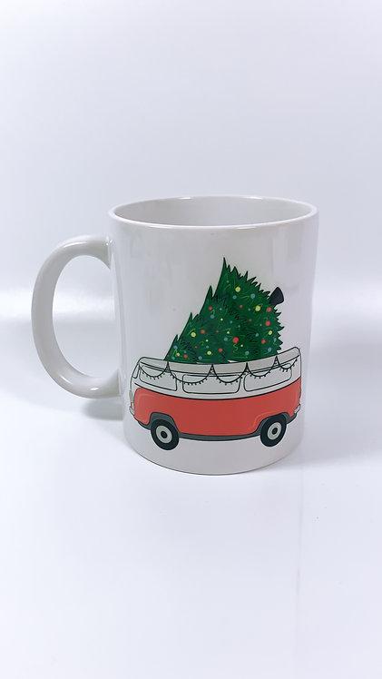 Christmas Camper. Mug, Personalised Cup