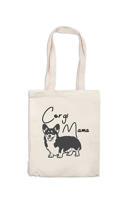 Corgi Mama Canvas Bag, dog owner gift, personalised