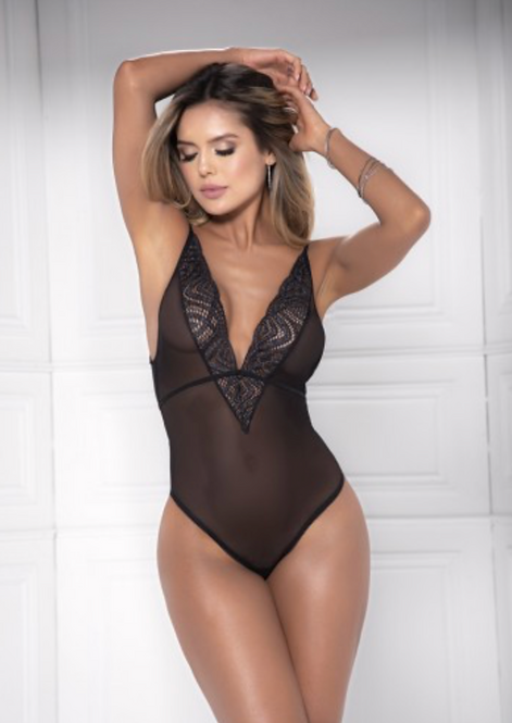 Too's Company - Black Sheer Lace Bodysuit