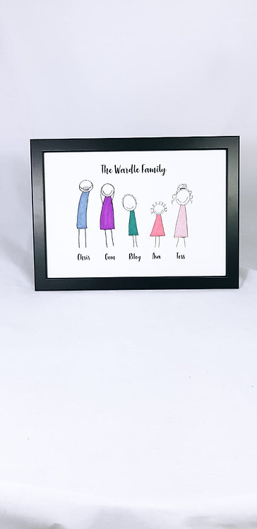 Stick Man, Personalised Family Print, Family Gift, Family stick man frame, personalised illustrations, riva gifts