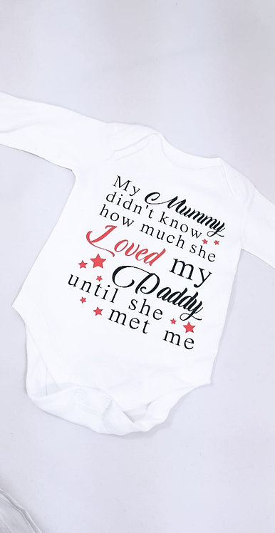Long Sleeve Personalised Baby Vest, Mummy and daddy