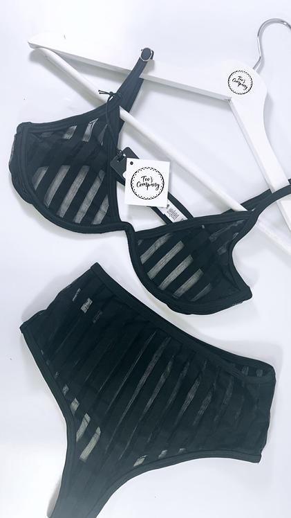 Too's Company Striped Luxury Black Set