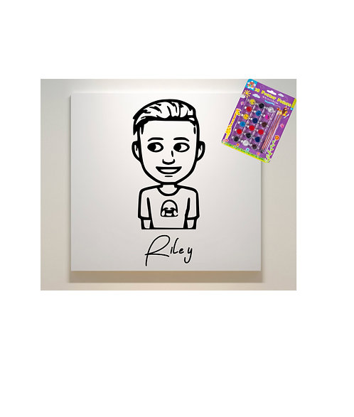 Cartoon You, Paint Your Own Canvas and Paint Set, Personalised.