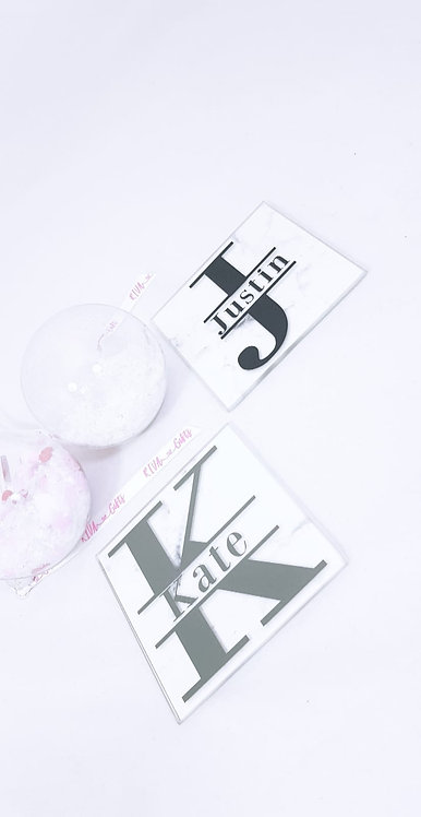 Monogram coaster, rivagifts