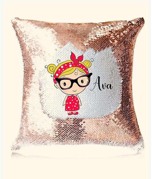 Cartoon Sequin Cushion, Rose Gold