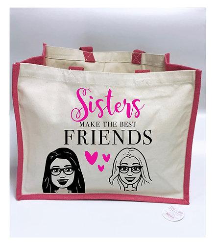 Sister Cartoon Large Tote Bag, Canvas Bag