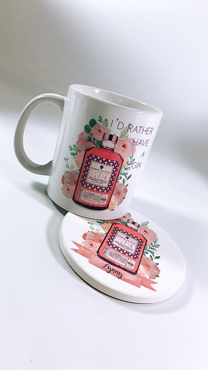 I'd rather be drinking Gin Mug and Coaster Set