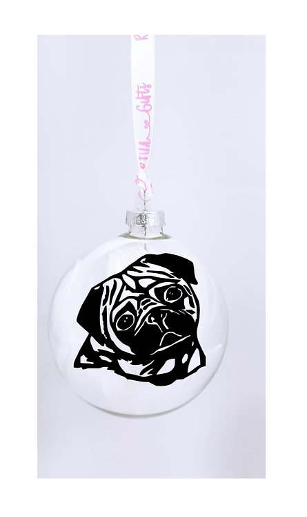 Black Pug,Personalised Bauble, Pet Owner Gifts, Gifts near me, riva gifts
