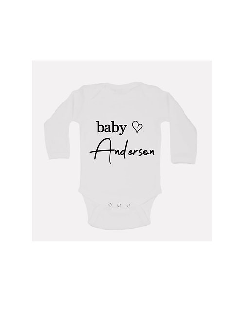 New baby, Long Sleeve Personalised Baby Vest, personalised baby gift, personalised gifts south west, local personalised gifts