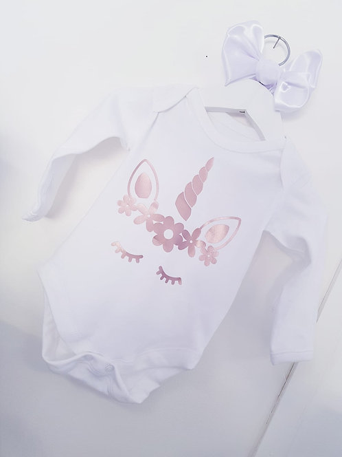 Personalised unicorn baby vest, local personalised gifts, Weston-super-mare,riva gifts