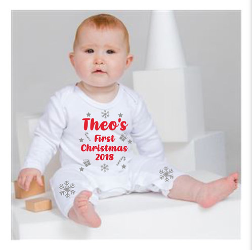 First Christmas Romper, Personalised, baby romper, riva gifts personalised baby gifts