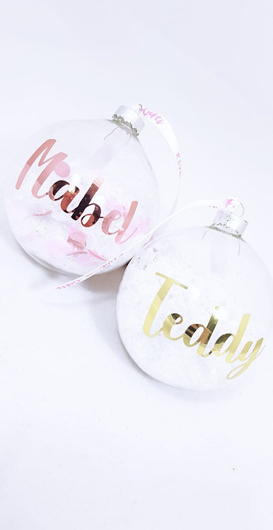 Glass Bauble, Snow Confetti, Personalised