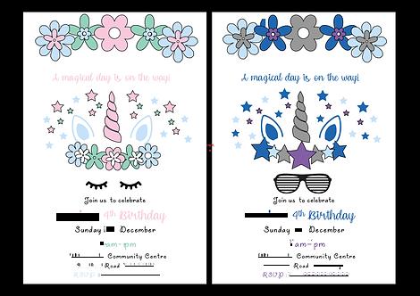 Unicorn Invitations, invites, kids party