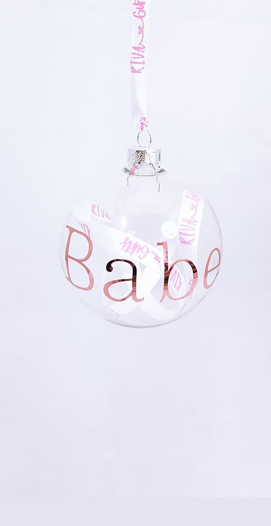Ribbon Glass Bauble,  Personalised