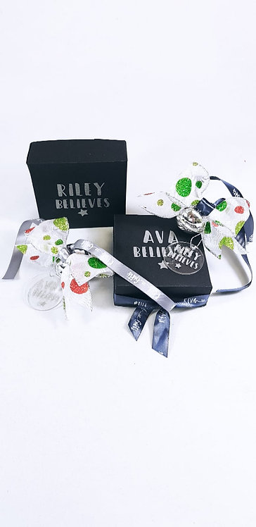 Personalised Believe Bell and Bow Bauble, they believe