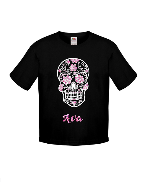 Day of the dead t-shirt, glittery t-shirt, halloween, skull, girly skull t-shirt, riva gifts personalised gifts Weston super