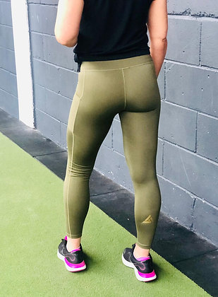 Torvi Gym Legging - Olive & Gold