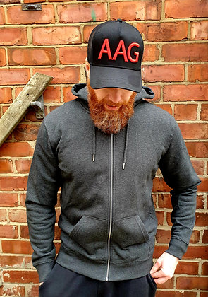 The 'Fyrd' Zipped Hoodie - Dark Heather Grey & Red