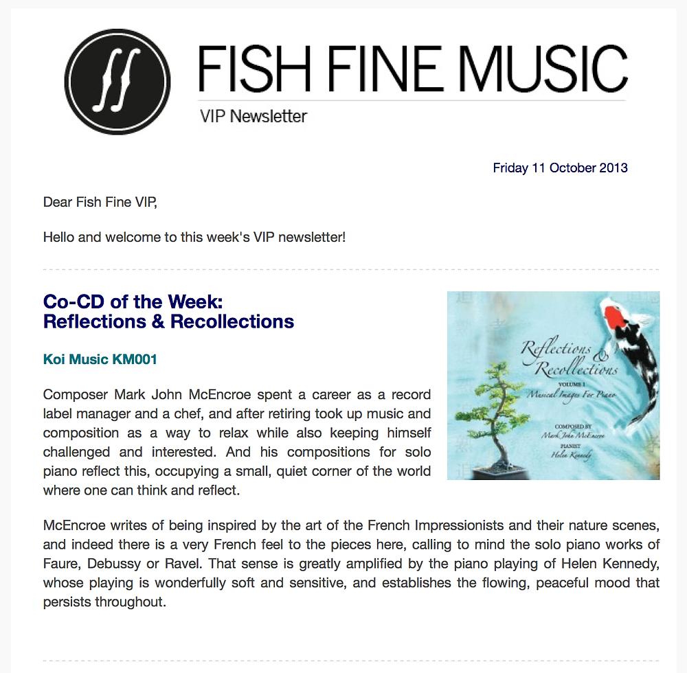 Fish Fine Music newsletter