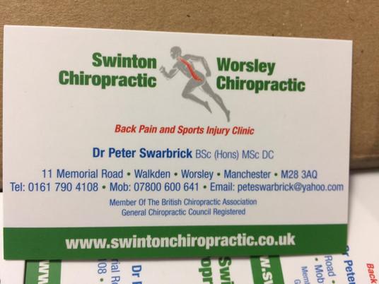 Business Cards - Swinton Chiropractic 2.