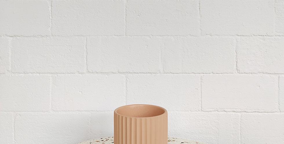 Striped Coral Coloured Pot