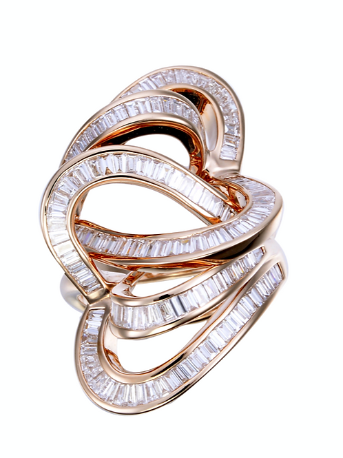Baguette Hearts Ring