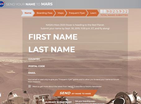 讓臺灣孩子名留火星!快上美國航太總署NASA網站解鎖《2020年火星登陸任務》