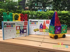 【數學類】精緻實惠的數學建構片故事主題包 - Picasso Tiles畢卡索磁性建構片26片(車子)& 42片(城堡)
